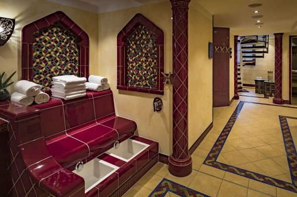 The moorish kiosk, the wellness area of the Platzl Hotel Munich, which contains besides different saunas also a fitness room