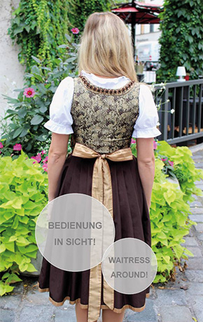 Back of a lady wearing Dirndl, the bow is in the center of the back and traditionally means she's a waitress.